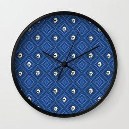 Funny little Skull pattern, blue Wall Clock