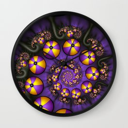 Playful Fractals Fun,  Modern Purple Yellow Spirals Wall Clock