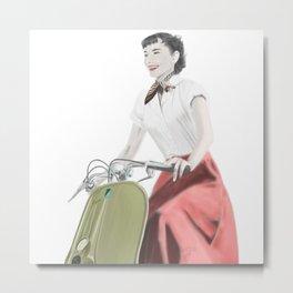Audrey ride on Vespa Metal Print