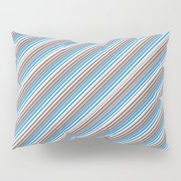 Blue Grey White Inclined Stripes Pillow Sham