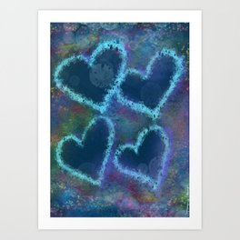 Four hearts Art Print
