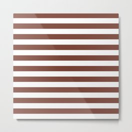 Stripes (Maroon & White Pattern) Metal Print