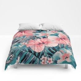 Vintage Jade Coral Aloha Comforters