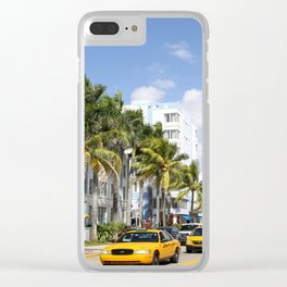 Yellow Cabs On Ocean Drive Clear iPhone Case