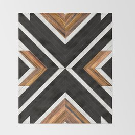 Urban Tribal Pattern No.1 - Concrete and Wood Throw Blanket