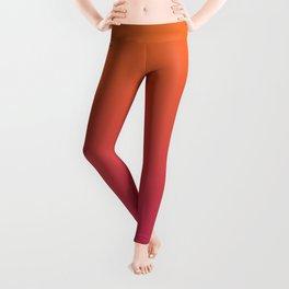 Pink Orange Red Gradient Pattern Leggings