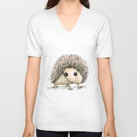 hedgehog V-neck T-shirts featuring Hedgehog by Bwiselizzy