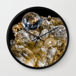Crystal Ball Resting on quartz Crystals Wall Clock