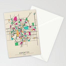 Colorful City Maps: Edmonton, Canada Stationery Cards