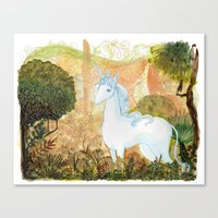 the last unicorn Canvas Prints featuring Last Unicorn by Morgan Allain, The Inkling Girl