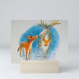 Confidences d'un renne avec un âne... Mini Art Print