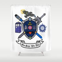 battlestar Shower Curtains featuring Greek Crest - So Say We All by DavinciSMURF