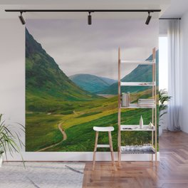 Beautiful Green Fields In A Mountain Valley Landscape Photography Wall Mural