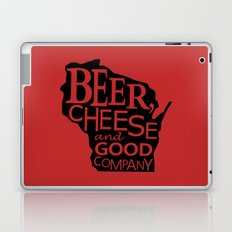 Red and Black Beer, Cheese and Good Company Wisconsin Graphic Laptop & iPad Skin