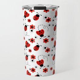Red Ladybug Floral Pattern Travel Mug