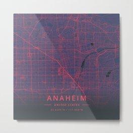 Anaheim, United States - Neon Metal Print