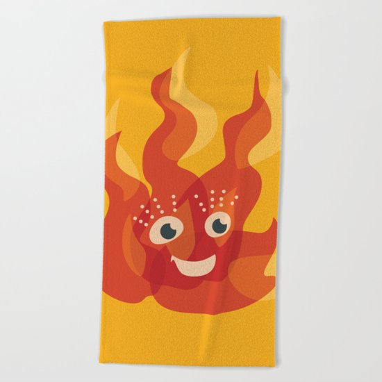 Happy Burning Cartoon Fire Beach Towel
