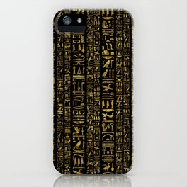 Egyptian hieroglyphs vintage gold on black iPhone Case
