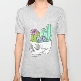 Succulent cactus garden flower pastel skull Unisex V-Neck