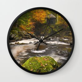 II - River through autumn colours at the Hermitage, Scotland Wall Clock