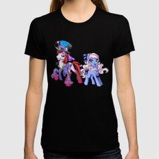 Mad T Ponies 'Alice and Tarrant' Black Womens Fitted Tee MEDIUM