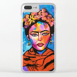 Frida With Flowers Clear iPhone Case