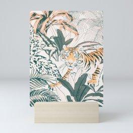Tiger Jungle Silver Colour Mini Art Print