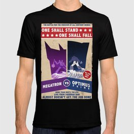 Optimus Prime vs Megatron Fight Poster T-shirt