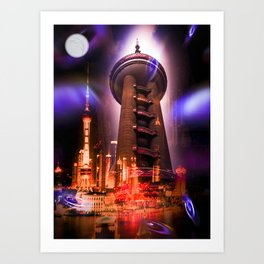 Full moon - Moments Shanghai Oriental Pearl Tower Art Print