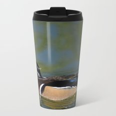 Male Wood Duck Metal Travel Mug
