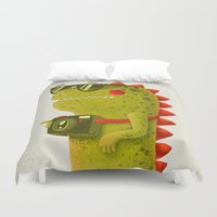 dino Duvet Covers featuring Dino touristo (olive) by Lime