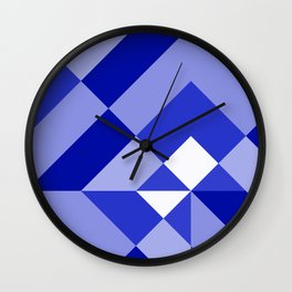 Blue and White Geometric Abstract Wall Clock