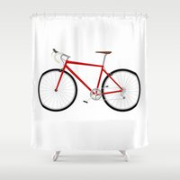bicycle Shower Curtains featuring Bicycle by Henry Meadowlark