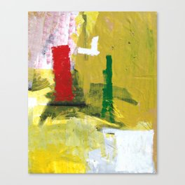 No. 02 Yellow Red and Green Bold Abstract Painting  Canvas Print