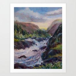 A Creek Between Mountains Art Print