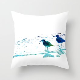 Seagull Art - On The Shore - By Sharon Cummings Throw Pillow