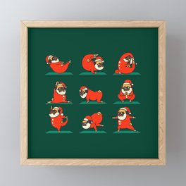 Santa Pug Yoga Framed Mini Art Print