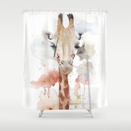 "Watercolor Painting of Picture ""Portrait of a Giraffe"" Shower Curtain"