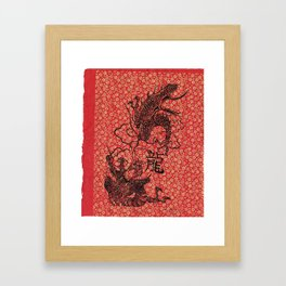Long The Chinese Zodiac Dragon in red, black and gold Framed Art Print