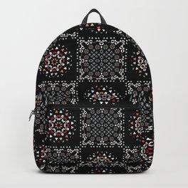 Bohemian Black Red Folk Art Patchwork Backpack