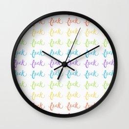 Rainbow Fuck Pattern Wall Clock