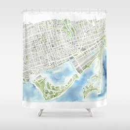 Toronto Canada Watercolor city map Shower Curtain