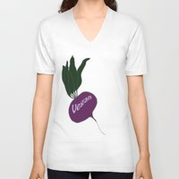vegan V-neck T-shirts featuring vegan by gaus