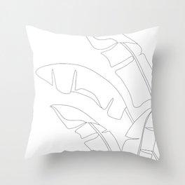 Minimal Line Art Banana Leaves Throw Pillow