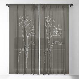Amancay Wildflower in black Sheer Curtain