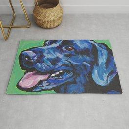 Black Lab Labrador Retriever Fun Dog bright colorful Pop Art Painting by LEA Rug