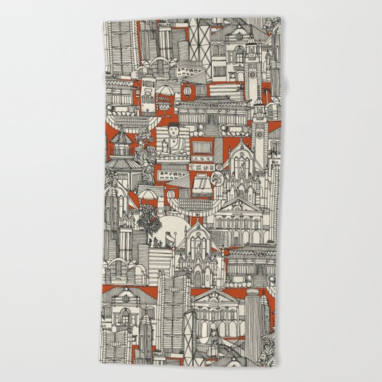 Hong Kong toile de jouy Beach Towel