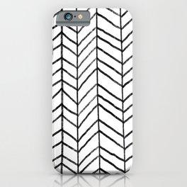 Hand Drawn Herringbone Pattern (black/white) iPhone Case
