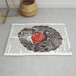 Here Be Dragons  (dragon and d20 dice on dictionary page) Rug