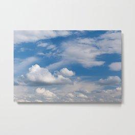 Sunny cirrus and cumulus cloudscape Metal Print